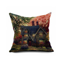 wan jia deng huo Dazzle color painting Impresión digital flannelette Throw Pillow Cover / Negro / blanco / verde / rojo / * 40, 4