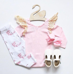 Wholesale Swan Rompers - 2018 baby girl pink lace fly sleeve rompers+swan printed pp pant baby girl ins two piece baby wholesale clothing