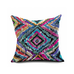Wholesale Ikat Cushion - Mediterranean American nationa l wind ikat cotton tie-dyed geometry hold Throw Pillow Cover flannelette cushion for leaning on   red