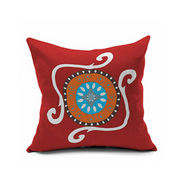 Wholesale Pillow Covers Country - European pillow Mediterranean Morocco country folk Hold Throw Pillow Cover flannelette cushion for leaning on  red  white   green