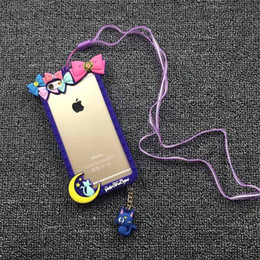 Wholesale Iphone Cases For Girls 3d - Silicone frame for iphone 6s case 3d Cartoon Bumper Sailor Moon 6plus With dust plug Strap cat Luna girls Magic wand luxury DESALAN
