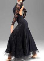 tango için balo dansı elbiseleri toptan satış-Özel siyah dantel flamenko elbise ispanyolca dans kostüm balo salonu dans yarışması elbiseler balo salonu dans elbiseler vals tango elbise