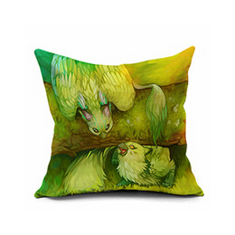 Wholesale American Animation - Cool game animation American cartoon animal printed cotton and linen hold Throw Pillow Cover flax cushion for leaning on velvet cushio
