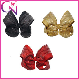 Wholesale Hair Pieces For Babies - 20 Pieces lot Glitter Hair Bow Grosgrain Ribbon Hair Bow Two Layers Hair Bow for Baby Girls Headwear