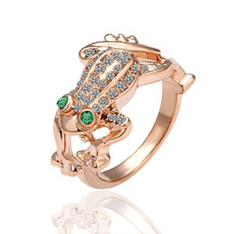 Wholesale Gold Frog Jewelry - 18K rose gold ring shiny new diamond ring frog Korean fashion trade jewelry R013
