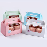 Wholesale Wholesale Clear Cup Cake Boxes - 50 pcs of 4 colors Muffin Cake Box With Handle&Clear Window Contain 2 Cupcakes Cup Cake Packing