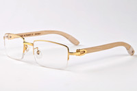 Wholesale Eyewear Bamboo - 2017 retro mens sunglasses brand designer buffalo horn glasses bamboo eyewear white leg lunettes de soleil femme luxe