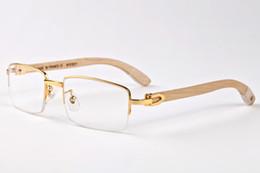 Wholesale Glasses Bamboo Frame - 2017 retro mens sunglasses brand designer buffalo horn glasses bamboo eyewear white leg lunettes de soleil femme luxe