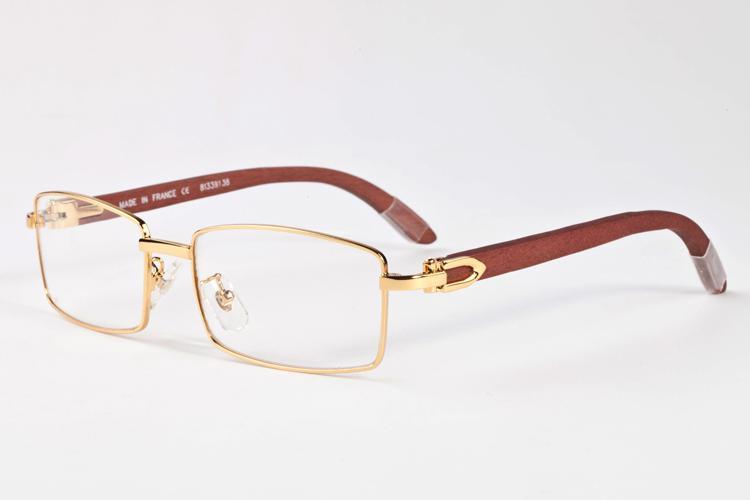 0143587c38 2017 Designer Brand Clear Brown Black Lenses Square Gold Wood Bamboo Glasses  Frames Wooden Sunglasses Men Women Optical Retro Victoria Beckham Sunglasses  ...