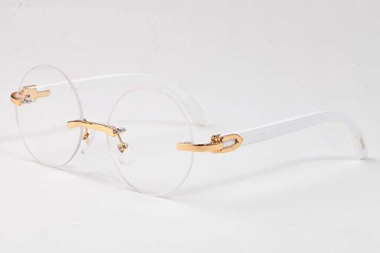 124597ccd17 2017 Fashion Round Rimless Glasses Men Women Brand Designer Sunglasses Wood  Bamboo Frame Clear Brown Gold Lunette De Soleil Cheap Eyeglasses Sunglasses  Shop ...