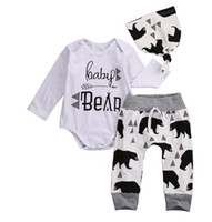 Wholesale Boys 3piece - NWT 2017 INS Cute Baby Girls Boys cotton Outfits Spring Autumn 3piece Set Long Sleeve Romper Jumpsuits + Pants + Hats - Baby Bear