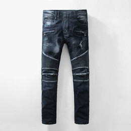 Wholesale Dark Jeans For Mens - BP Mens Stylish Fashion Stretch distressed robins jeans Slim washed dark blue robin biker jeans for men Plus size robin Jeans Plus size