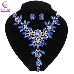 Wholesale Light Blue Statement Necklace - Trendy 2017 7 Colors Statement Necklace Crystal Jewelry Sets Women Necklace With Earrings For Party Boho Wedding