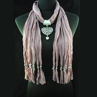 Wholesale Pashminas Pendants - Cheap Scarf hot selling - dull red heart-shape pendant polyester necklace scarf pashmina , NL-1495I