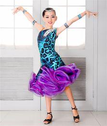 Wholesale Grade Practice - NEW children's Latin Dance Dress Girls High Grade bead Rumba Tango Sasa Samba ballroom performance suit competition suit group practice set