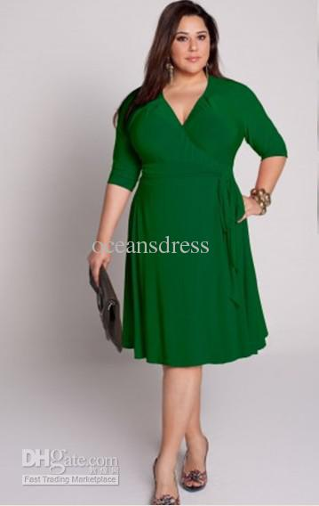 plus size custom made 2011 chiffon column v neck knee length green