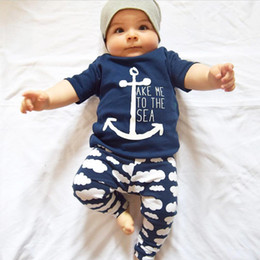 Wholesale Baby Girl Anchor Clothing - Children Summer Ins Outfits Boys Navy Anchor Short Sleeve T-shirt+Cloud Print Pants Two Piece Sets Infant Baby Cotton Clothes