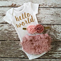 Wholesale Cute Short Pants For Girls - 2017 INS New arrivlas Baby girl hello world letter print tomper+pp pants 2pcs outfits kids cotton clothes suit for 0-3T