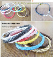 Wholesale Simple Single Rings - colors single wholesale fashion simple Mix & Match multicolor PU leather weave bracelet cord chain women Candy color 100 pcs size 16cm -23cm