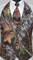 Wholesale Tie Printing Vest - 2017 Camo Men Vest Camouflage Mens Suit Vest Slim Groom Vests Realtree Camo Outerwear Spring Autumn Summer Wedding Vest Men(Waistcoat+Tie)