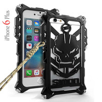 Wholesale Skull Phone Iphone Cases - Thor Luxury Heavy Duty Armor Metal Aluminum Skull Mobile Phone Bags Cases for Apple iPhone 6 6S 6plus 5PCS LOT