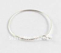 500PCS Silver Plate Wine Glass Charm Hoops Wires 25mm # 20561
