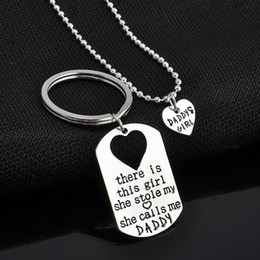Wholesale Halloween Keychains - Heart Pendant for Father and Daughter Heart Necklaces Silver Necklace Keychains Fathers Day Gifts Alloy Pendant Necklace