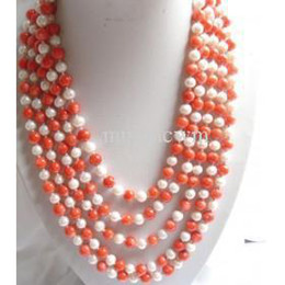 Wholesale Pink Coral Beaded Necklace - natural 100''7-8mm White Pearl&Sea Pink Coral Necklace