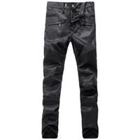 Wholesale Leather Denim Jeans Men - Mens Fashion Runway Robins Biker PU Leather Slim Denim Pants Men Classic Jeans Knee Drape Panel robin jeans for men Plus size 28-38