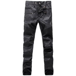 Wholesale Leather Style Jeans Men - Mens Fashion Runway Robins Biker PU Leather Slim Denim Pants Men Classic Jeans Knee Drape Panel robin jeans for men Plus size 28-38