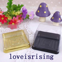 Wholesale Mini Cakes Boxes - 50pcs=25sets 6.8*6.8*4cm Black or Gold Bottom Mini Size Plastic Cake Box moon cake holder Container Wedding Favor cake Wrapper
