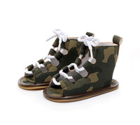Wholesale Wholesale High Fashion Shoes - Multicolor Baby roman lace up sandals Infants boys girls summer sling-back High shoes cute summer retro fashion heudauo first walkers