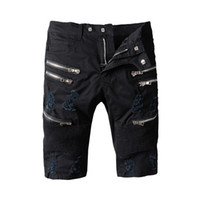 Wholesale Destroyed Jeans Shorts - Knee Length Black Ripped Denim Robins Shorts Hole Zipper Biker robin Jeans Shorts For Men Slim Skinny Destroyed Torn Jean Short 100% Cotton