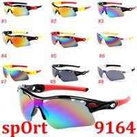 Wholesale Rainbow Framed Glasses - MOQ=10PCS summer newest men sport SUN glasses driving sunglasses Bicycle Glass woman fashion glasses 7colors A++ Rainbow sunglasses 9164
