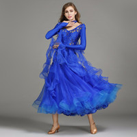 6 colors blue sequins ballroom waltz dresses for ballroom da...