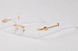 Wholesale Gold Wood Sunglasses - free shipping 2017 men white buffalo horn glasses wood gold bamboo vintage retro women sunglasses with box case
