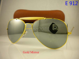 Wholesale Male Case - 1Pcs Mens Womens Male Designer Pilot Sunglasses Outdoorsman Sun Glasses Eyewear Gold Black 62mm Glass Lenses With Brown Case