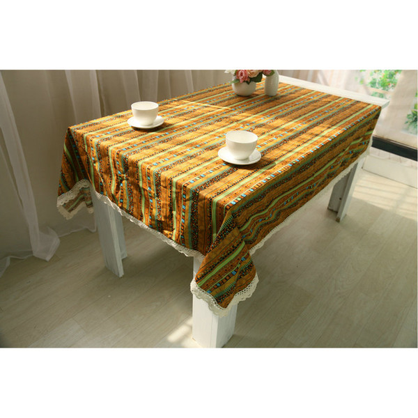 Yellow Striped Table Cover Rectangular Cotton Linen Table Cloths, Washable Tablelinens Dinner Picnic Table Cloth Home Decoration 10-Size