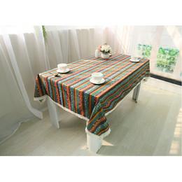 Dinner Table Cloth Australia - Blue Stripe Rustic Cotton Linen Bohemia Table Cloths, Washable Tablelinens Dinner Picnic Table Cloth Home Tabletop Decoration 10-Size