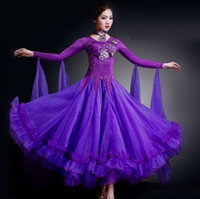 Wholesale Purple Dance Competition Costume - 7 colours woman high-end big swing standard Ballroom Dance Costume Dress for competition sequins waltz tango foxtrot costumes