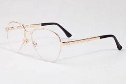 Wholesale High Quality Aviator Glasses - free shipping 2017 aviator sunglasses for men high quality brand designer sunglasses for women half rimless clear lens glasses