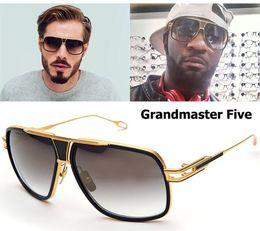 Wholesale Vintage Glasses Round - Brand Sunglasses Men 2017 New Unisex Grandmaster Five Sunglasses Women Brand Designer Sun Glasses Men Vintage Sunglass with case and box