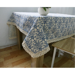 Dinner Table Cloth Australia - Blue and White Chinese Style Cotton Linen Table Cloths, Washable Tablelinens Dinner Picnic Table Cloth Pillow Cover Home Decoration 10-Size