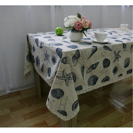 Dinner Table Cloth Australia - Shell Starfish Style Cotton Linen Lace Table Cloths, Washable Tablelinens Dinner Picnic Table Cloth Pillow Cover Home Decoration 10-Size