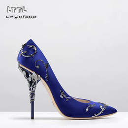 Wholesale Dress Fabric Silk - 2017 Ornate Filigree Leaf Pointed toe Haute Couture Collection SHOES eden heel wedding pump Super sexy women high heel shoes