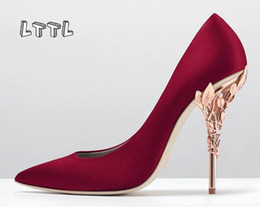 Wholesale dress fabric silk - LTTL Women Solid Eden Heel Pump Super sexy women wedding shoes 2017 Ornate Filigree Leaf Pointed toe Haute Couture SHOES