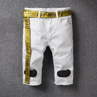 Wholesale Cool Relaxing - Off White Shorts Hip Hop Streetwear Religious Robin Jeans Off White Shorts Mens Skateboard Cool Beach Striped Off White Justin Bieber Shorts