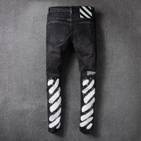 Wholesale High Quality Denim Jeans - High Quality Men Robin Jeans Off White New Mens Wear Mill Wear Striped Denim Pants Mens Robins Jeans Jogger Pants Silm Hole Trousers