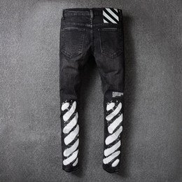 Wholesale High Quality Jeans Pants - High Quality Men Robin Jeans Off White New Mens Wear Mill Wear Striped Denim Pants Mens Robins Jeans Jogger Pants Silm Hole Trousers