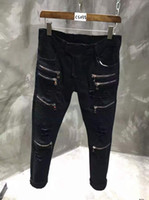 Wholesale Rock Stage - Famous Brand Rock Style Famous Brand Black Robin Jeans For Men Fashion Singer Stage Wear Ripped Biker Robins Jeans With Zipper Pockets 28-40